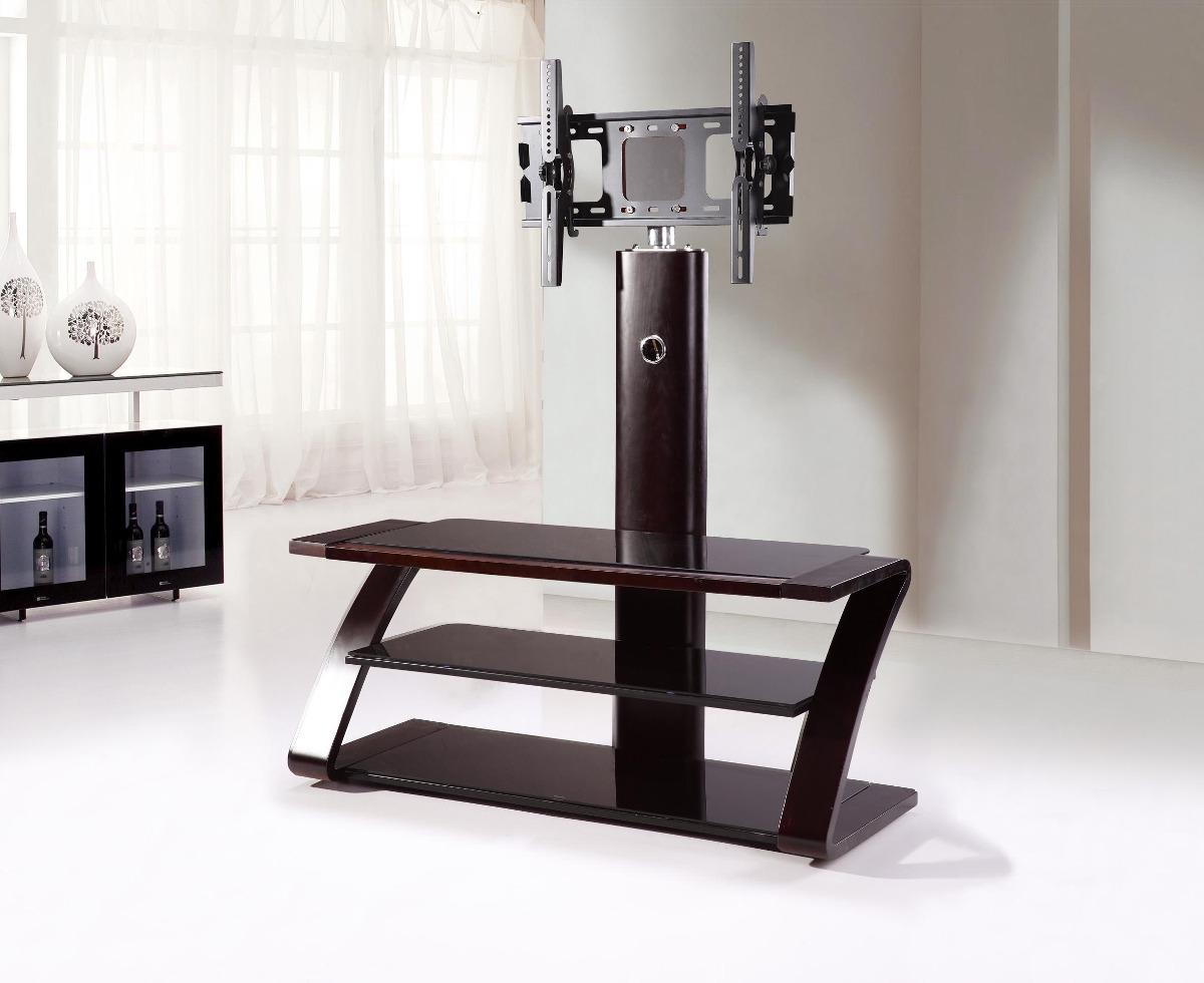 mesa soporte para tv tres niveles en vidrio oscuro y