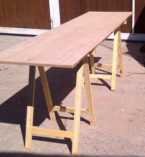 mesa, tabla, tablón , c/ 2 caballetes plegables y trabas - mader shop