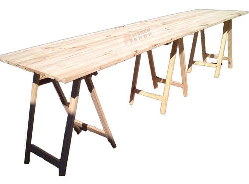 mesa, tabla, tablón, con 3 caballetes de madera y trabas - mader shop