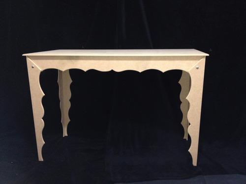 mesa tam g em mdf madeira crua para festas, eventos, buffets