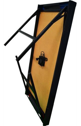 mesa tejo aire metal y madera plegable + manoplas turbina