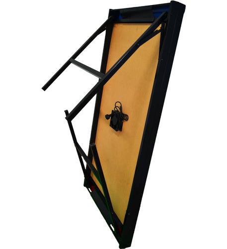 mesa tejo aire metal y madera turbina plegable + manoplas