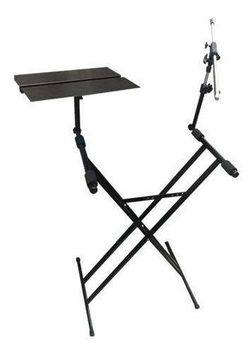 mesa tijera doble teclado con base note + mic pro stands