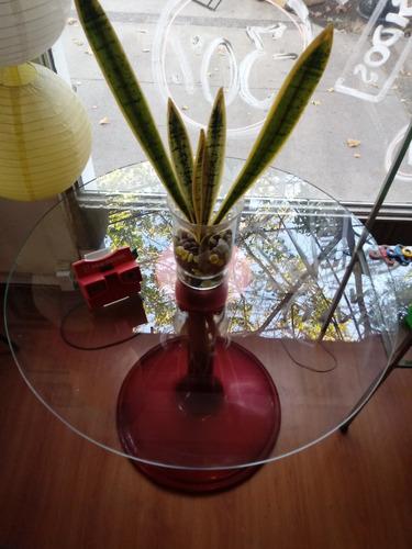 mesa tipo tulip vidrio y fibra