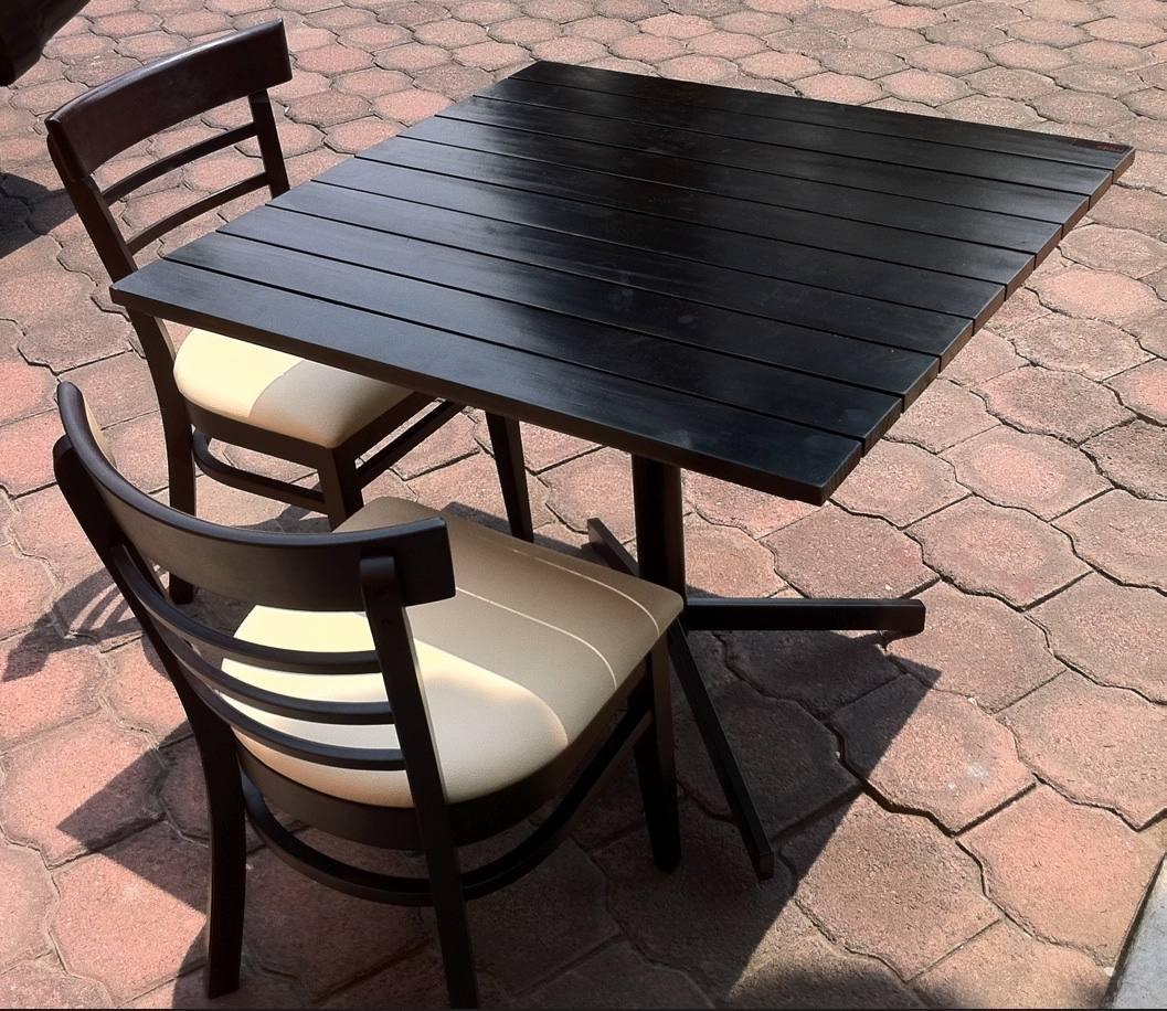 Mesa tiras madera para restaurantes cafeter as y bares 1 en mercado libre for Mesas de madera para restaurante