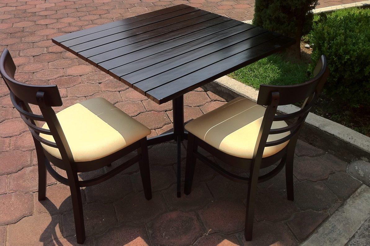 Mesa tiras madera para restaurantes cafeter as y bares for Mesas de madera para restaurante