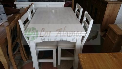 mesa tire  patinado 1.20x0.80 a 2.40 + 4 sillas tapizado