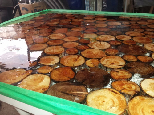 mesa tronco madeira transparente