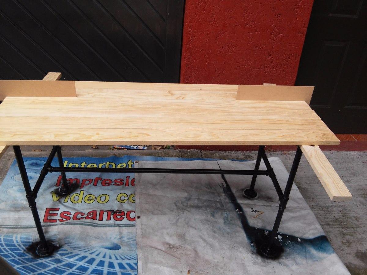Mesa tubo industrial 80x120 madera pino personalizada - Mesa madera industrial ...