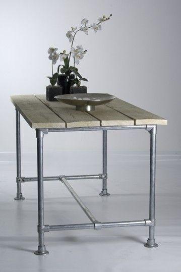 Mesa tubo industrial 80x120 madera pino personalizada reyes 4 en mercado libre - Mesa madera industrial ...