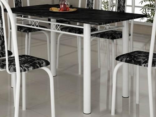 mesa tubular com 6 cadeiras 1,40 x 0,75 - ardósia granitada
