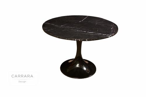 mesa tulip mármol negro marquina - carrara design -