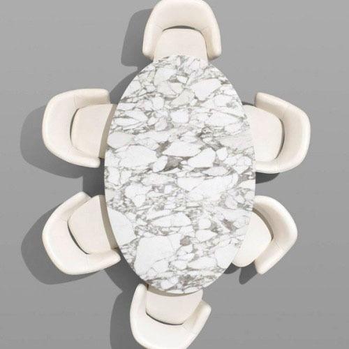 mesa tulip saarinen oval marmol carrara base alum 160x90