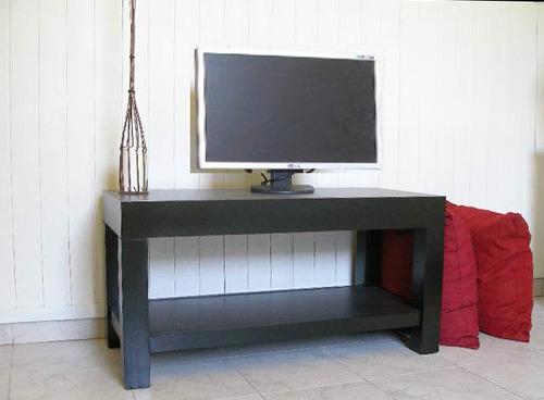 mesa tv bajo plasma lcd madera laqueada  estante organizador