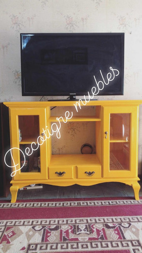 mesa tv de pino vintage