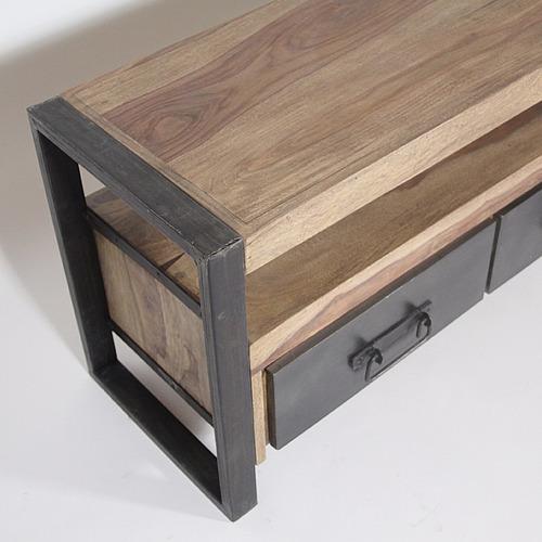 mesa tv industrial vintage rack madera hierro 1,60