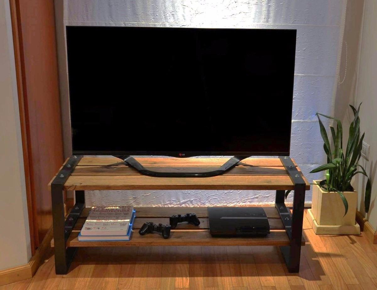 Mesa Tv Lcd Estilo Industrial Hierro Y Madera Tonalizda 2 145  # Mueble Tv Industrial Negro