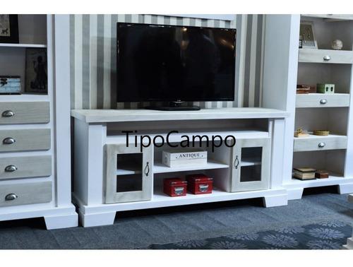 mesa tv lcd quincho modular rack madera, pino, estilo campo
