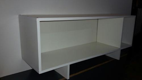 mesa tv led biblioteca en modulos con luz led interior