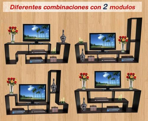 mesa tv led x2 modulos l  de melamina