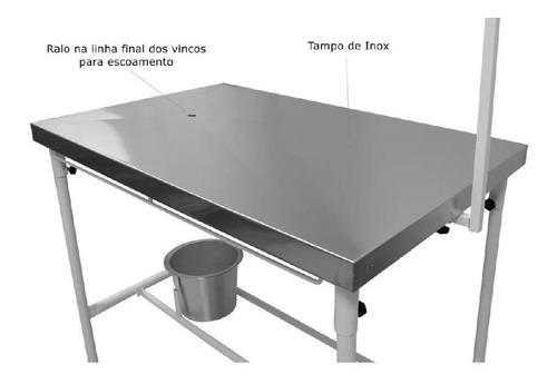 mesa veterinária higiênico cirúrgica balde inox atendimento