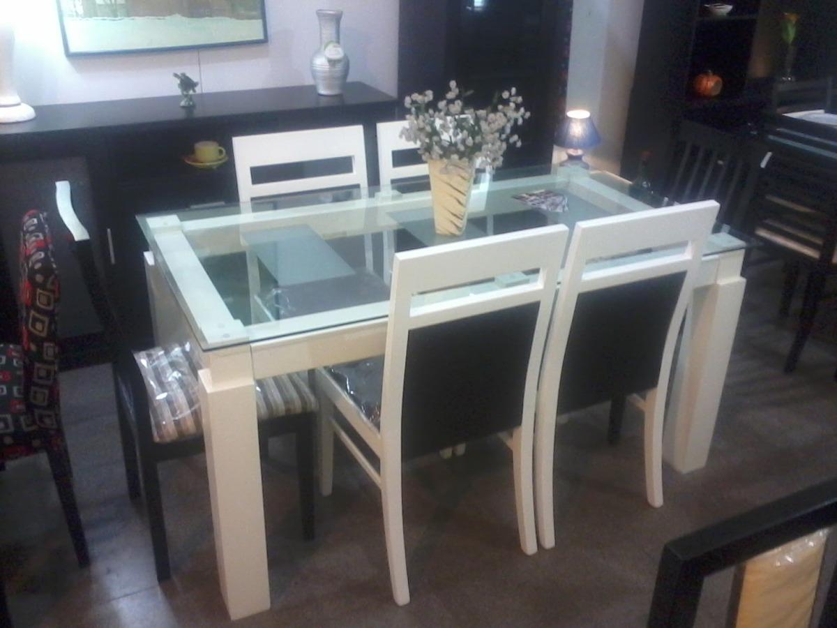 mesa vidrio x fija patas madera nuevablanca
