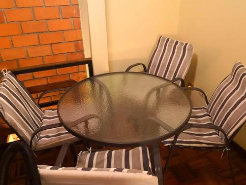 mesa vidrio escarchado 4 sillas p/ terraza o jardin