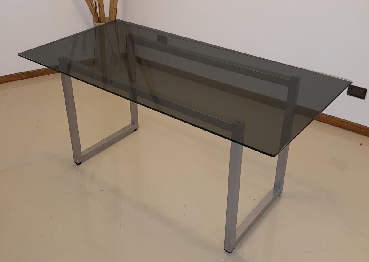 Mesas de vidrio modernas mesa moderna de vidrio de hierro for Cristal para mesa rectangular