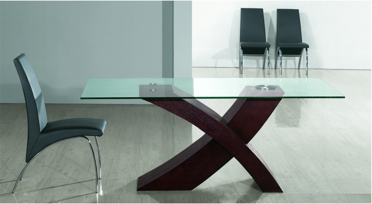 Mesa Vidrio Rectangular Comedor Base Madera En Cruz Outlet!