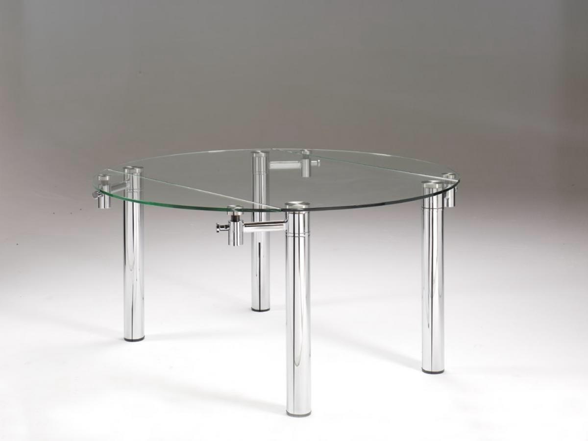 mesa de comedor redonda de cristal extensible
