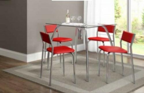 mesa vidro c\ 4 cadeiras carraro e tecido vrm somente rj