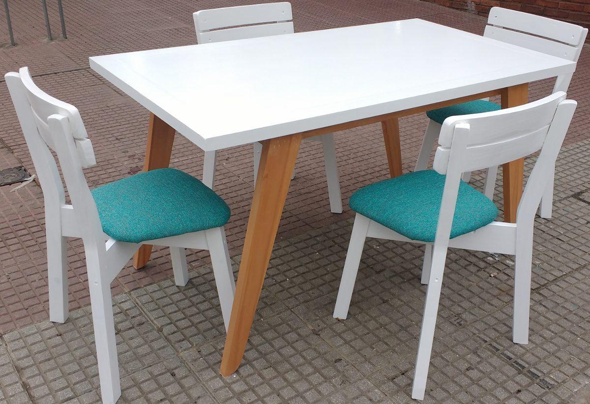 Mesa Vintage Escandinava Con Sillas Estilo Blanca Tapizadas ...