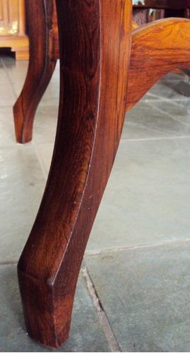 mesa vitoriana antiga em madeira jacarandá com tampo mármore
