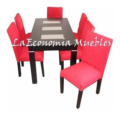 mesa wengue negro + 6 sillas vestidas chenille