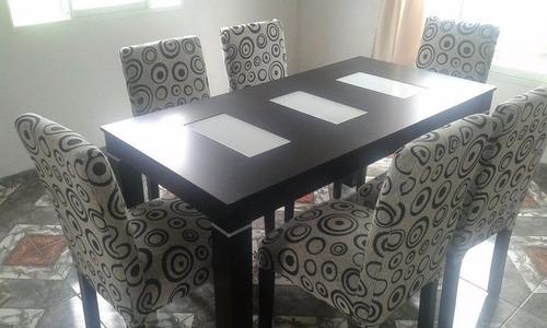 mesa wengue  y 6 sillas vestidas en chenille linea nueva
