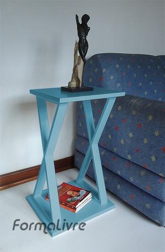 mesa x lateral de apoio mesa cabeceira criado mudo azul laca