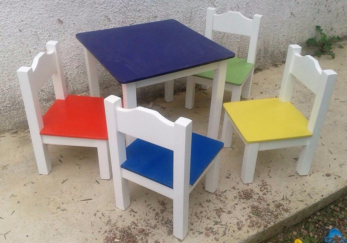 Mesa y 2 sillas infantil laqueada en mercado for Mercado libre mesas y sillas