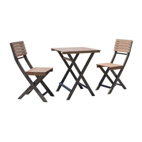 mesa y 2 sillas madera eucalipto bistro jardin terraza envio