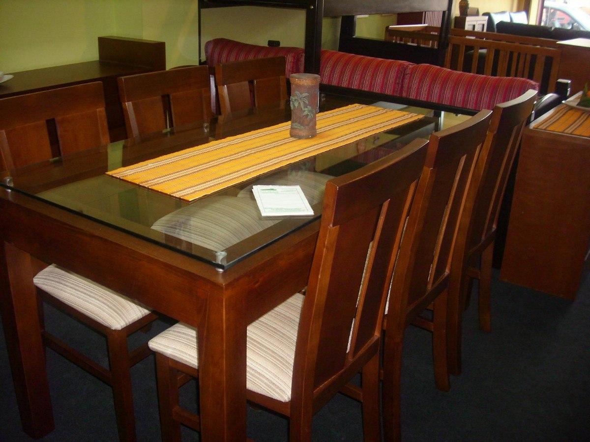 mesa y 6 sillas en madera con vidrio en