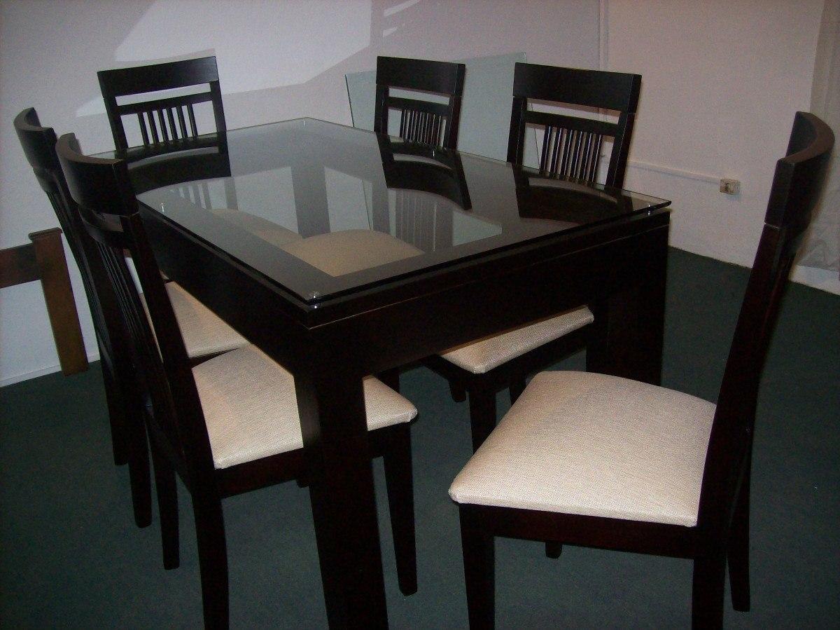 Mesa y 6 sillas en madera con vidrio en for Vidrio para mesa de comedor