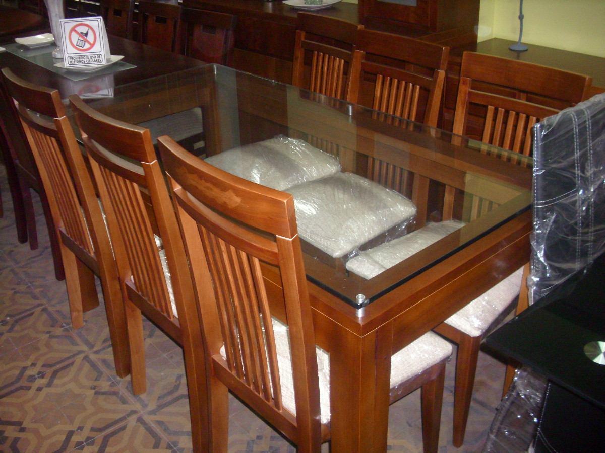 Mesa y 6 sillas en madera con vidrio en for Vidrio para mesa de comedor precio