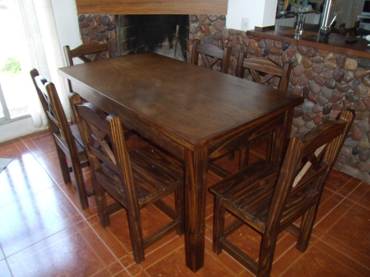 Mesa y 6 sillas en madera maciza lustrada estilo rustico for Comedor de madera 6 sillas precios