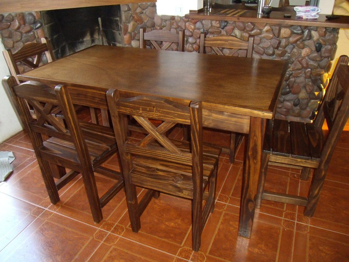 Mesa y 6 sillas en madera maciza lustrada estilo rustico for Sillas para bares y confiterias