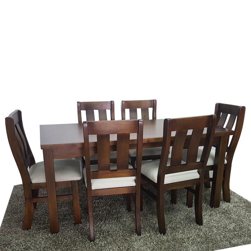 Mesa y 6 sillas muy comodas variedad modelos tapizadas for Sillas de madera comodas