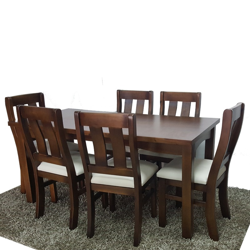 Mesa y 6 sillas tapizadas para mesa o comedor 100 maciza for Sillas tapizadas para comedor