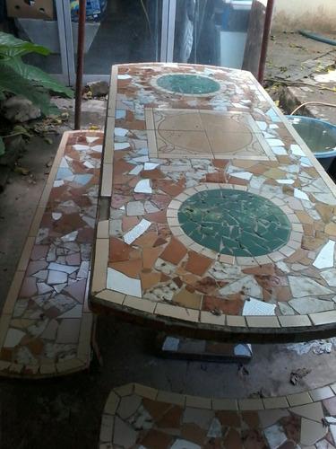 mesa y bancos para jardin