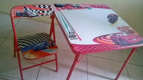 mesa y silla para niños cars rayomcqueen