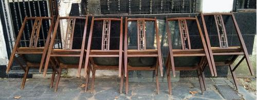 mesa y sillas antiguas americana - mueble comedor no frances
