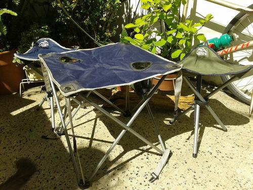 mesa y sillas camping alpes plegables liquido!