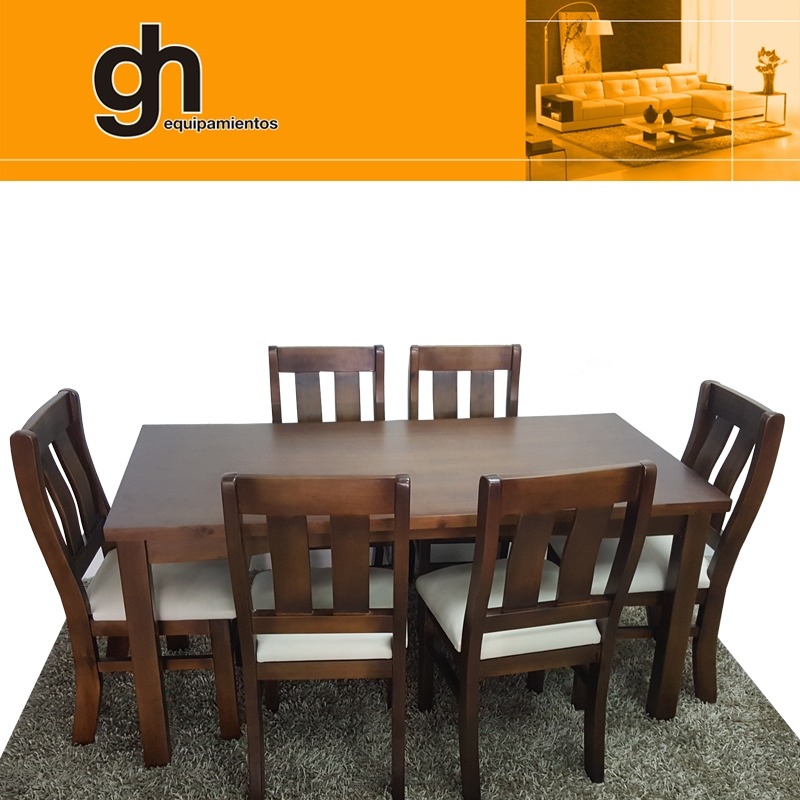 Mesa y sillas en madera para comedor o cocina gh 20 - Sillas de cocina madera ...